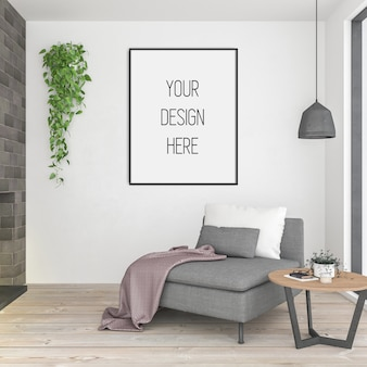 Mockup di poster, soggiorno con cornice verticale