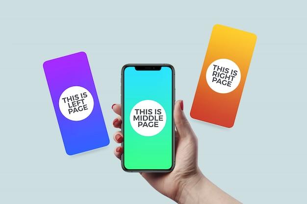 Mockup di presentazione della pagina dell'app mobile
