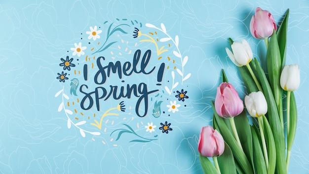 Mockup di primavera piatta laici con copyspace