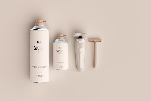 Mockup di prodotti per la rasatura
