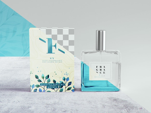 Mockup di profumo e packaging