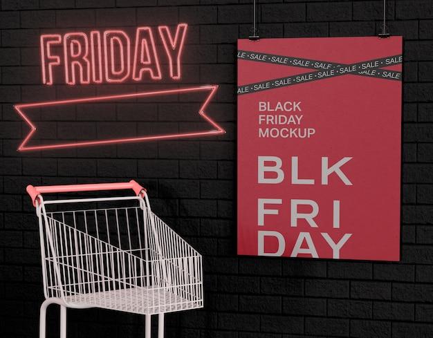 Mockup di pubblicità banner vendita venerdì nero. sconto pubblicitario il giorno dello shopping.