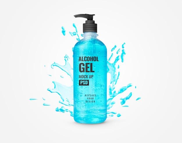 Mockup di pubblicità di disinfettante per le mani blu pompa di bottiglia di gel blu