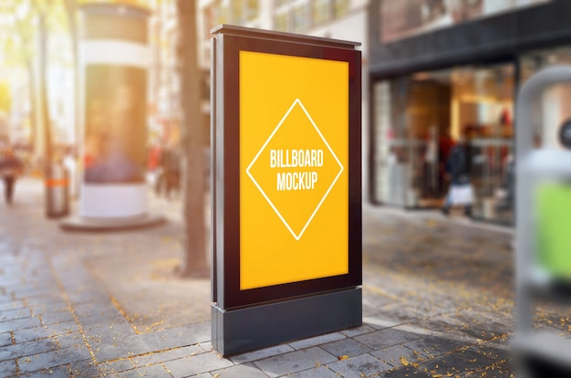Mockup di pubblicità esterna di poster luce città