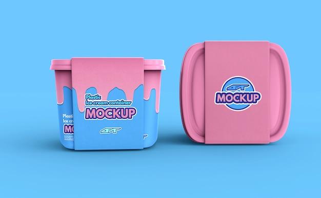 Mockup di scatola del contenitore del gelato in plastica