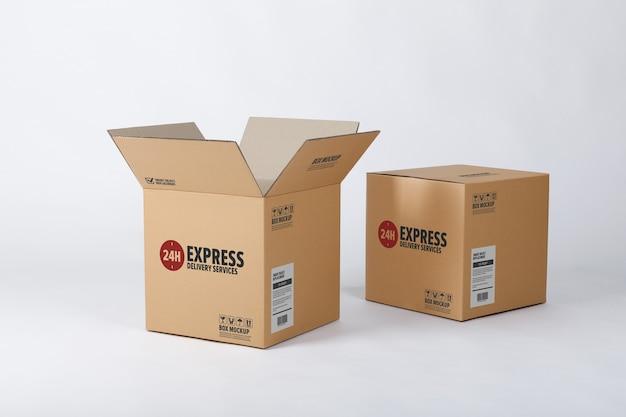 Mockup di scatola di cartone di consegna