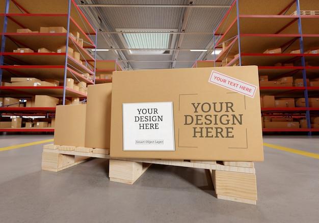 Mockup di scatola di cartone di magazzino