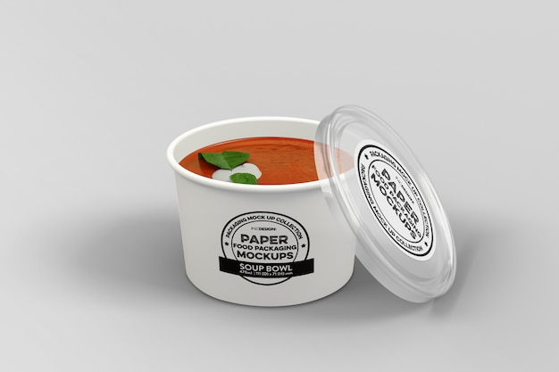 Mockup di scatola di imballaggio per zuppa