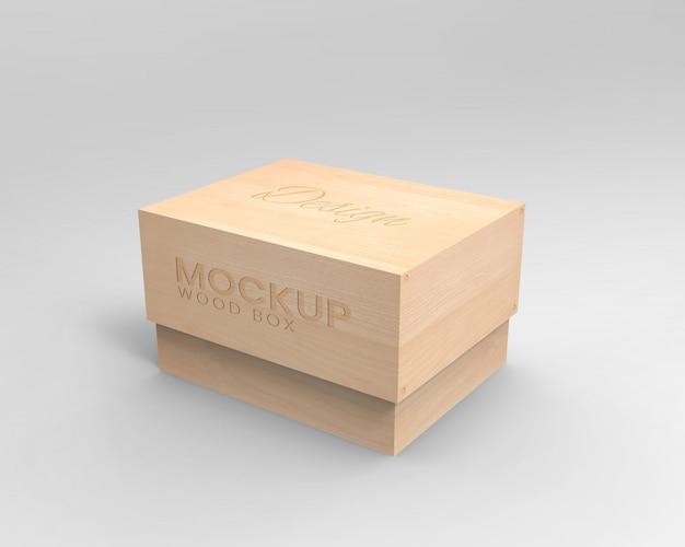 Mockup di scatola di legno