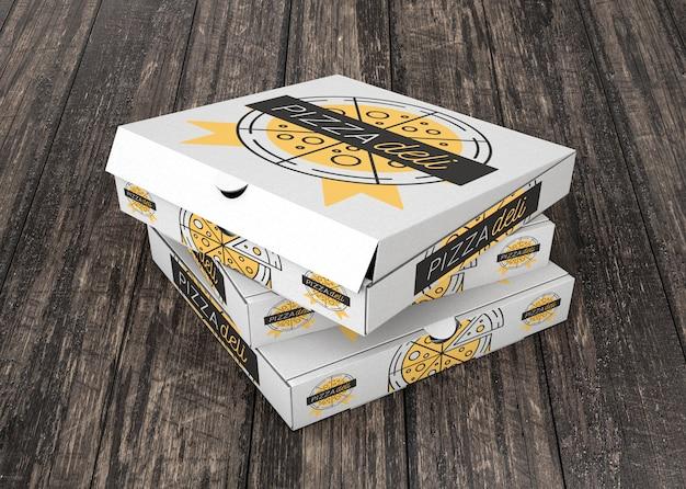 Mockup di scatola di pizza impilata
