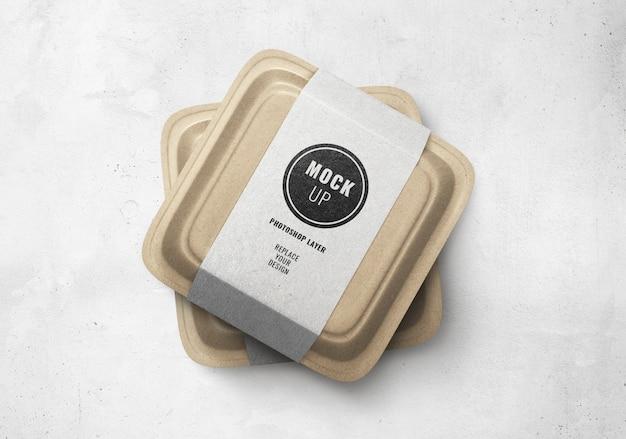 Mockup di scatola marrone cibo consegna