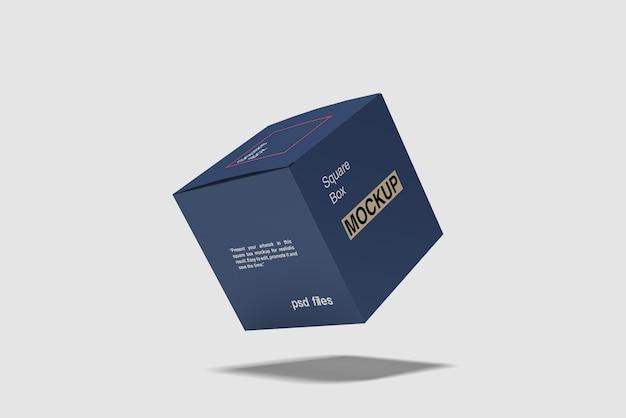 Mockup di scatola quadrata volante