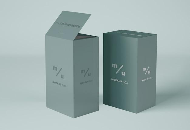 Mockup di scatole di carta rettangolari