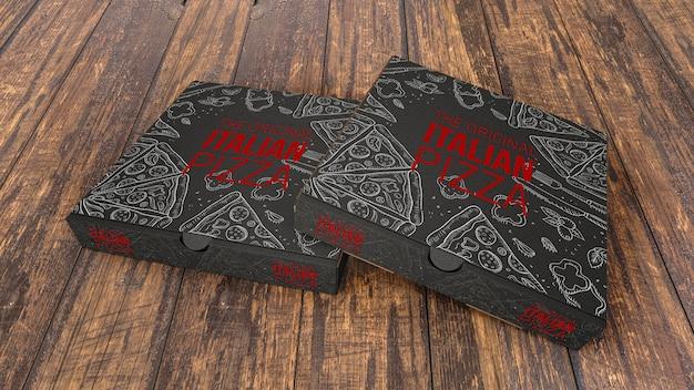 Mockup di scatole di pizza creativa