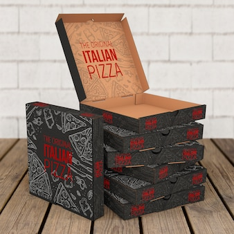 Mockup di scatole di pizza impilate