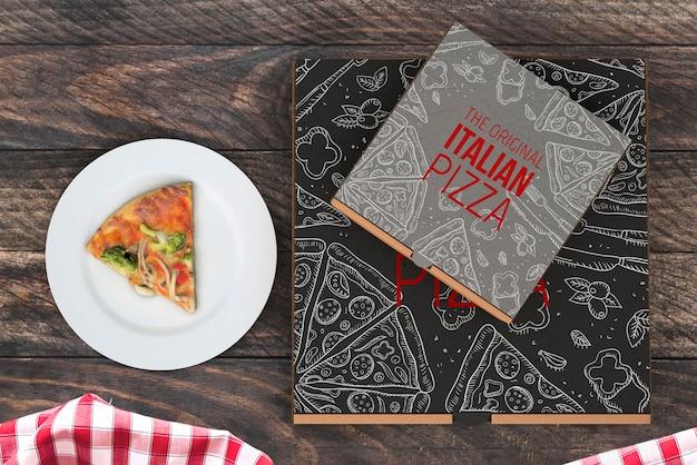 Mockup di scatole di pizza vista dall'alto
