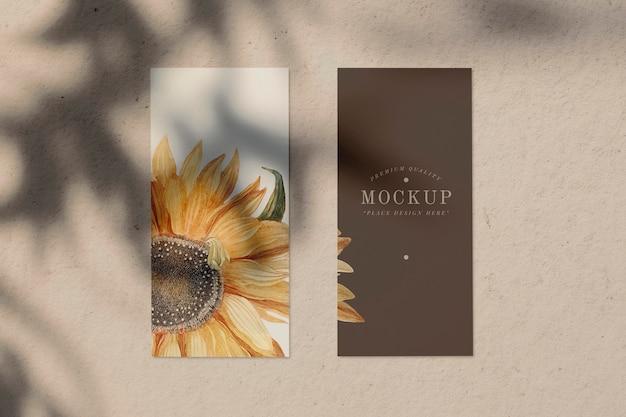 Mockup di scheda menu di design di girasole