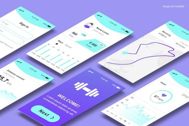 Mockup di schermate dell'app in prospettiva