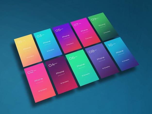 Mockup di schermate delle app mobili