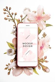 Mockup di schermo del telefono cellulare floreale