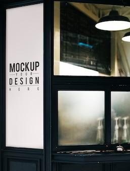 Mockup di segno negozio minimale bianco