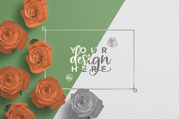 Mockup di sfondo cornice di rose