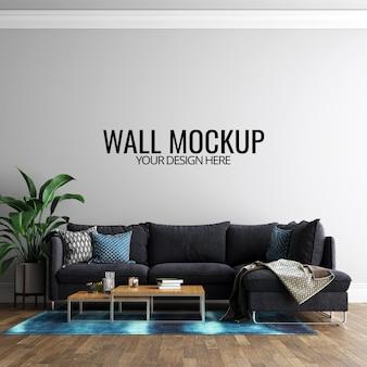 Mockup di sfondo muro interno soggiorno con mobili e decorazioni