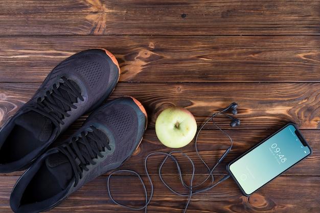 Mockup di smartphone con il concetto di fitness