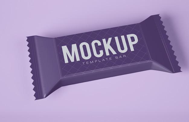 Mockup di snack bar al cioccolato