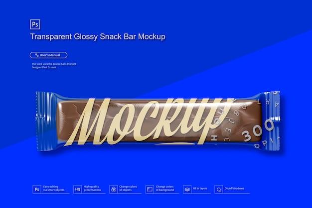 Mockup di snack bar lucido trasparente