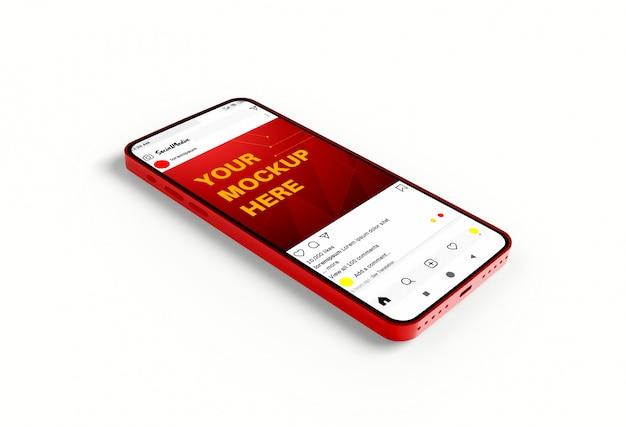 Mockup di social media su smartphone