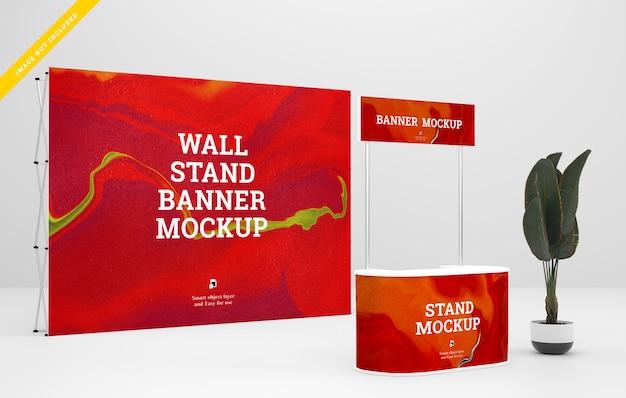 Mockup di stand per banner fieristici. modello psd.