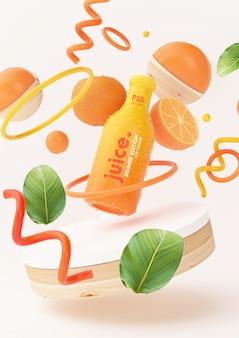 Mockup di succo d'arancia fresco con oggetti astratti