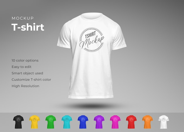 Mockup di t-shirt casual in diversi colori