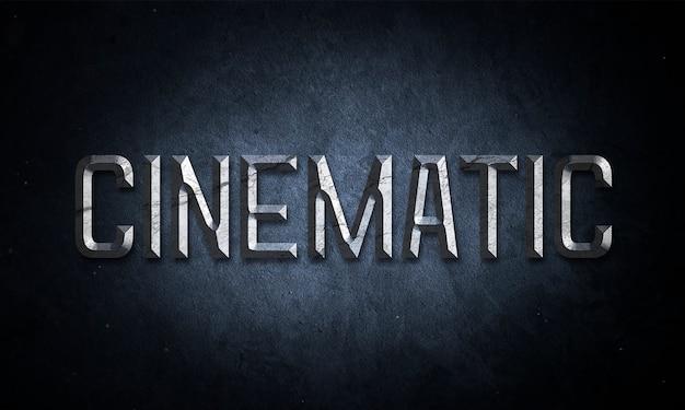 Mockup di testo titolo cinematografico con effetto metallo