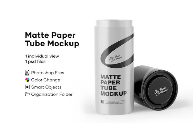 Mockup di tubo di carta opaca