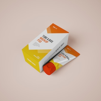 Mockup di tubo e scatola di crema cosmetica con design modificabile
