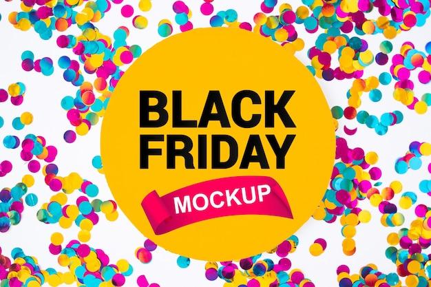 Mockup di venerdì nero con coriandoli