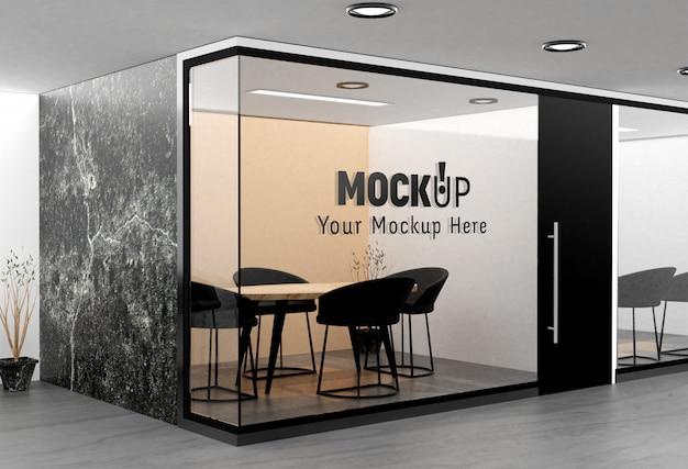 Mockup di vetro dello spazio di lavoro