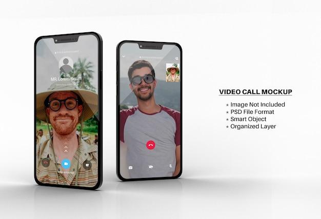 Mockup di videochiamate whatsapp sullo schermo dello smartphone