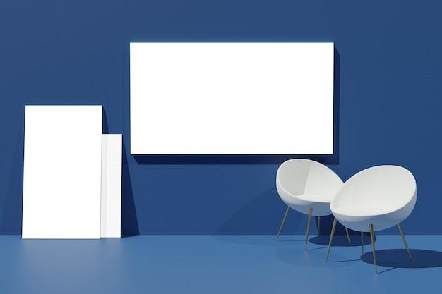 Mockup di visualizzazione cornice di rendering 3d per creatore di scene