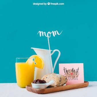 Mockup para el día de la madre con desayuno