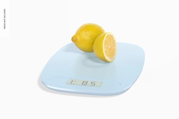 Mockup digitale keukenweegschaal met citroenen