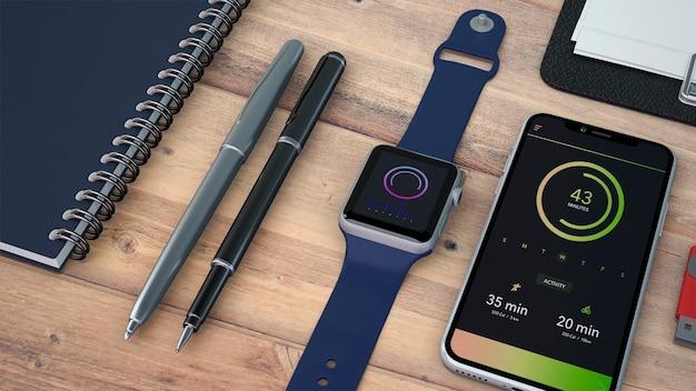 Mockup de dispositivos y materiales de oficina