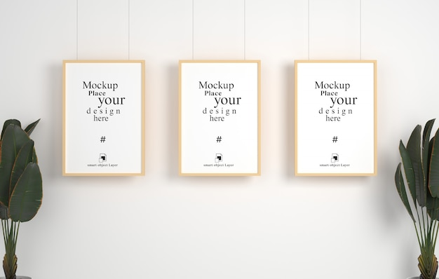 Mockup drie lege fotolijst opknoping voor mockup in lege witte kamer,