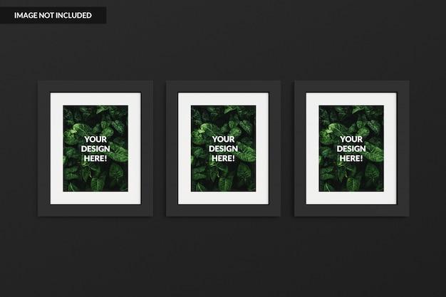 Mockup drie lege fotolijst voor voorbeeld