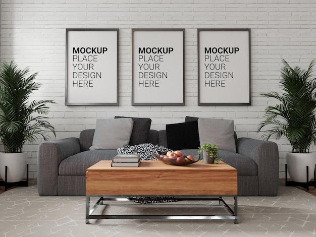 Mockup drie van fotolijstjes voor mockup aan de muur
