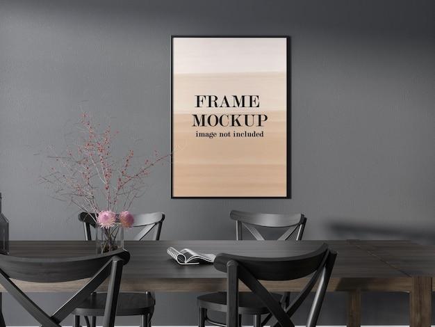 Mockup dun frame op grijze muur