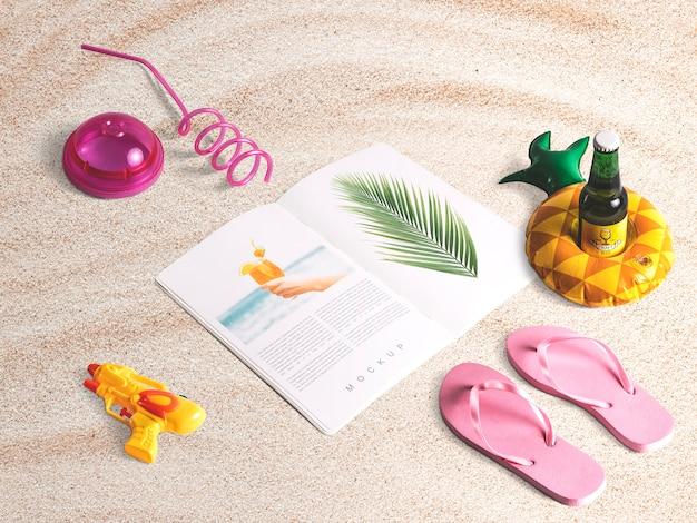 Mockup editable isométrico de revista con elementos de verano