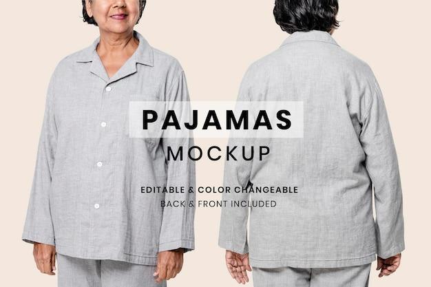 Mockup editable de pijamas psd para ropa de dormir anuncio de ropa para personas mayores